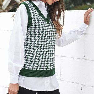 V Neck Houndstooth Knitted Sweater Vest green